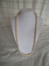 """Lovely hand knotted faux pearl necklace 24"""" long, w/gold tone clasp"""