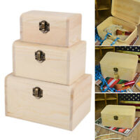 3x Plain Wooden Pirate Treasure Chest Wood Jewellery Storage Craft Box UK NEW