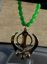 Gold Plated Punjabi Sikh Large Khanda Pendant Car Hanging in Green Beads