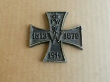Wwi German Patriotic Cast Iron Cross Paperweight 1813 1870 1914 Ges Gesch Medal