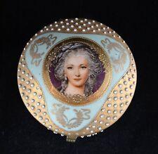 Antique Porcelain Dresser Powder Jar - Portrait, Teal Enamel & Gold