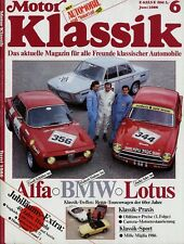 1179MK Motor Klassik 1986 6/86 Glas BMW GT CB 72 Alfa GTA Lotus Cortina TISA
