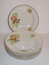 6 x Walbrzych Porcelain China Side Cake Plates Rose Floral Design Lovely