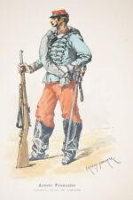 ARMEE FRANCAISE-CHASSEUR TENUE DE CAMPAGNE DUMARESQ GRAVURE COULEURS 1890-R913