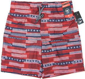 """SPEEDO E-Board 20"""" USA Swim Shorts- L- NEW-Red White & Blue stars & stipes trunk"""