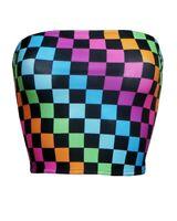Women's Rainbow Multi Check Squares Checkerboard Check Crop Bandeau Top Boobtube
