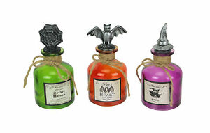 Set of 3 Multicolor Witches Brew Halloween Potion Jar Decorative Glass Bottles