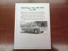 1963 Dodge Dart factory cost/dealer sticker pricing for base + options $$$