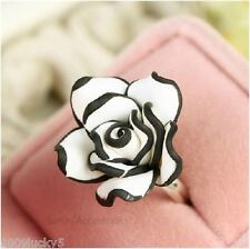 Flower Rose Adjustable Ring White Black Resin Girls Ladies Prom Bridal Party Big