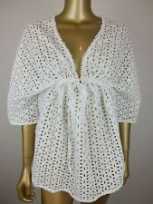 COUNTRY ROAD BLOUSE SHIRT BRODERIE EMBROIDERED WHITE TOP - 100% COTTON - XS