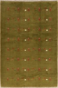 Moos Green Hand-Knotted Gabbeh Oriental Area Rug All-Over Tribal Carpet 5'x8'