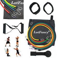 Resistance Bands Set Yoga Pilates Latex Exercise Fitness Tube Workout Band 11PCS