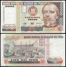 Peru 100,000 Intis Banknote, 1989, P-145, USED