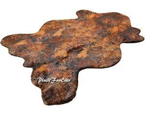 5' x 6' Tissavel American Brown Cowhide Faux Fur Luxury Area Rug PlushFurEver