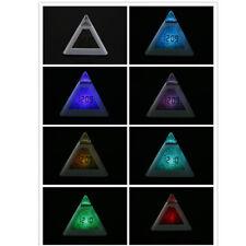 7 LED Change Colors Pyramid LCD Digital Snooze Alarm Clock Temperature display R