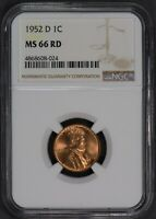 1952-D LINCOLN WHEAT 1C SMALL CENT ** NGC MS 66 RD ** NICE RED COIN! Lot#L984
