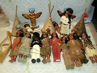 Carlson Lot Of 10 Native American Indian Dolls, 2 Babies 3 teepee, canoe,2 totem