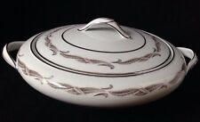 Noritake GAYLORD Round Vegetable Soup Tureen White w/ Gray Silver Leaves 5526