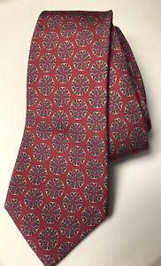 HERMES 100% Silk Made In France Cranberry Necktie Geometric Horsebit Design