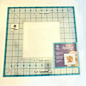 """June Tailor Get Squared Ruler 12 1/2"""" Outer 6 1/2"""" Inner Template Quilting NEW"""