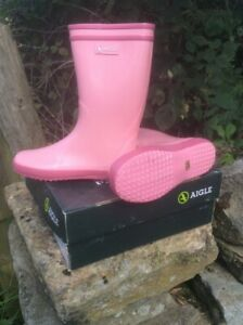 Children's Aigle Pink Wellies Lolly-pop waterproof rubber boots  LAST 3 pairs !