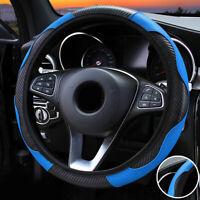 Blue & Black Car Steering Wheel Cover For 37-38CM Diameter Steering Wheel 1pc