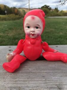"Vintage Occupied Japan 8"" Celluloid Baby Doll In Red Bunting"