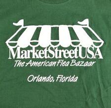 Vintage Market Street USA Flea Bazaar Tee Shirt Green Medium Florida D3