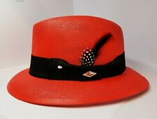 Mens Classic Red  Lowrider center crease  hat fedora