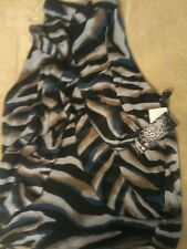 Sleeveless Ruffle Blouse  by Sequin Hearts 100% polyester NWT. Zebra sz L