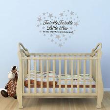 Twinkle Twinkle Little Star Wall Sticker/ Nursery Decal / 60 silver stars