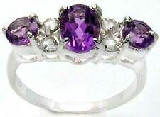 Delightful Natural Amethyst 1.85 Carat Sterling Silver Ring Size 6.75   AR92