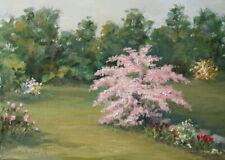Spring Garden  5x7, original oil painting by Celene Farris, Maine flowers, trees