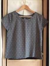 AUTRE TON haut top blouse motifs graphiques gris noirs blancs taille 36 (38)