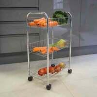 Chrome 3Tier Fruit Trolly Basket Rack Kitchen Storage Vegetable Cart With Wheels