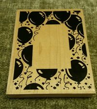 Stampendous Balloon Frame R002 Wood Mounted Rubber Stamp-Birthday