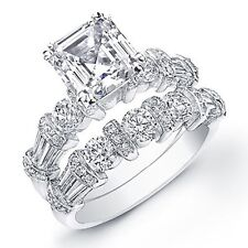 3.98 Ct. Asscher Cut Diamond Engagement Bridal Set EGL