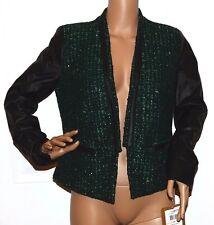 New $149 Ellen Tracy Tweed W faux leather sleeves trim Jacket Blazer Metallic 2