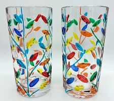 """MILANO"" HIGHBALL GLASSES - SET OF TWO - HAND PAINTED VENETIAN GLASSWARE SET"