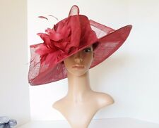 Kentucky Derby Church 3 Layers Big Bow Sinamay Wide Brim hat Burgundy