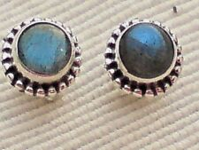 STERLING SILVER 7mm STUD EARRINGS WITH ROUND LABRADORITE CABOCHON STONES £10.50