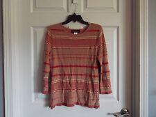 EUC Jones of N.Y. womens M red/beige stripe long sleeve sweater, round neck