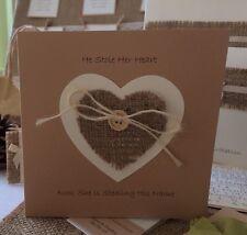 He Stole Her Heart Rustic Hessian Vintage Wedding Invitation X 10