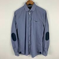 Politix Bespokes Mens Button Up Shirt Large Slim Blue Long Sleeve Collared