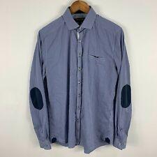 Politix Bespokes Mens Button Up Shirt Large Slim Blue Long Sleeve Collared