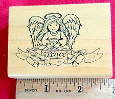 Rubber Stamp Delafield G-703 Angel Peace Retired Wood New