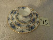 Royal Albert Moon Light Rose 4 Piece Place Setting.BONE CHINA ENGLAND BLUE,GOLD