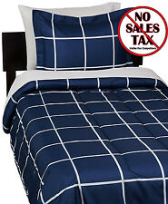 Twin XL Bedding Sets For Dorms College dorm Room Navy Blue Plaid Comforter Sheet