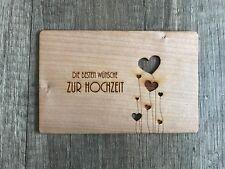 """Grußkarte aus Holz Geschenkkarte  Karte Wünsche """" ZUR HOCHZEIT """" Liebe Herzen"""