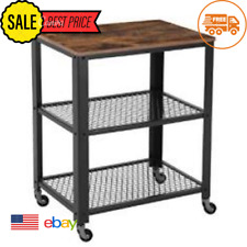 Zimtown 3-Tier Kitchen Utility Cart on Wheels with Storage for Living Room,Indus